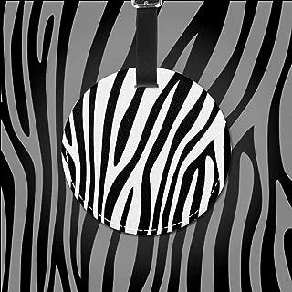 Black White Zebra Print Luggage Tag Suitcase Round Labels Travel Bag