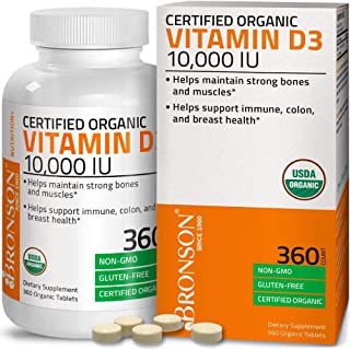 Bronson Vitamin D3 10,000 IU (1 Year Supply) for Immune Support, Healthy Muscle Function & Bone Health, High Potency Organ...