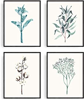 Botanical Prints Wall Decor Posters for Kitchen Bedroom Bathroom Living Room Simple Life Painting Watercolor Eucalyptus Ca...