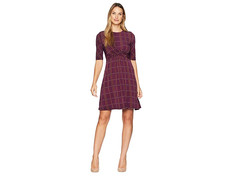 Donna Morgan Short Sleeve Jersey Dress with Crisscross Waist (Merlot/Mustard Multi) Women