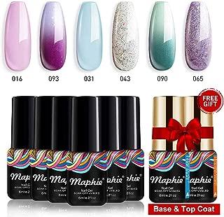 Maphie Gel Nail Polish Sets - 6 Colours Pastel Glitter Colour Including 2 Changing Gel UV LED Soak Off Gel Varnish Manicure with FREE TOP BASE COAT SET 6ml