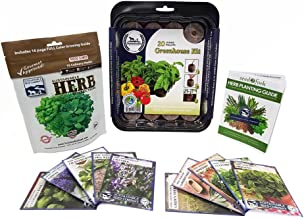 Sustainable Seed Culinary Herb Seed Collection w/Greenhouse, 10 Variety, 100% Non-GMO Heirloom Basil, Chives, Cilantro, Dill, Lavender, Oregano, Parsley, Rosemary, Sage, and Thyme Herb Seeds