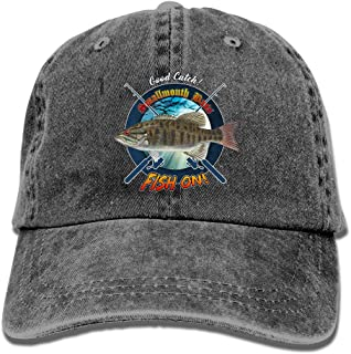 Personalized Fishing Cap with Smallmouth Bass Fish Pattern Print, Vintage Black Dad Hat, Adult