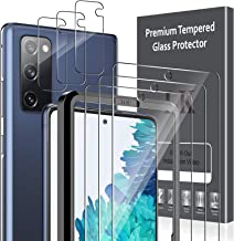 6 Pack LK 3 Pack Screen Protector & 3 Pack Camera Lens Protector Compatible with Samsung Galaxy S20 FE 5G 6.5-inch, Tempered Glass, Easy Frame Installation, HD Ultra-Thin, Case Friendly