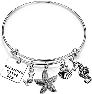 bobauna Dreaming of The Sea Beach Bracelet with Mermaid Starfish Shell Seahorse Charms Summer Vacation Ocean Lover Gift