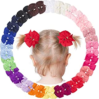 40Piece 2.36Inch Pinwheel Pigtail Bows Clips Hair Bows For Girls Toddler Hair Accessories For Toddlers Kids Baby Girls