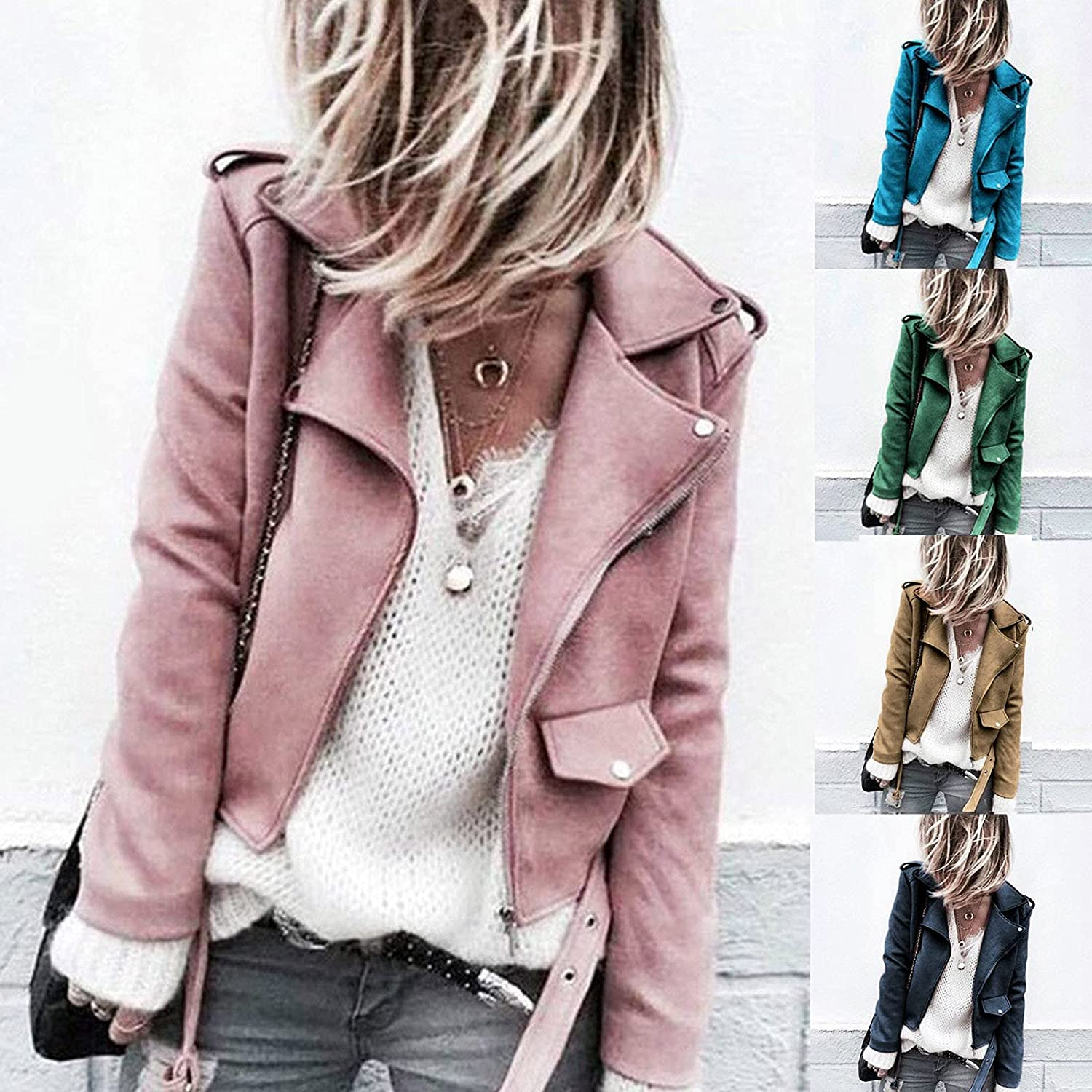 FIRERO Women's Faux Suede Casual Autumn Slim Zippers Coat Solid Color Cool Motorcycle Short Jacket