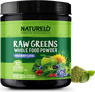 NATURELO Raw Greens Superfood Powder - Best Supplement to Boost Energy, Detox, Enhance Health - Organic Spirulina & Wheat Grass - Whole Food Vitamins from Fruit & Vegetable Extracts - 30 Servings