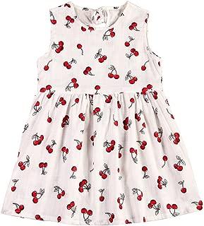 NELNISSA Girls Dress Soft Cotton Dress Sleeveless Summer Dress Princess Dress with Lovely Fruit Printed