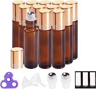Essential Oil Roller Bottles 10ml (Amber Glass, 12pack, 2 Extra Roller Balls,24 Labels, Opener, 2 Funnels by PrettyCare) Roller Balls For Essential Oils, Roll on Bottles