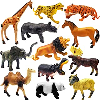ToyerBee Safari Animals Toy, Varieties of Zoo, Jungle, African Animals of 12 Pcs, Educational Toys of Animal Figurines with a Map for Party Supplies, Great Gift Set for Kids & Toddlers of 3 Years up
