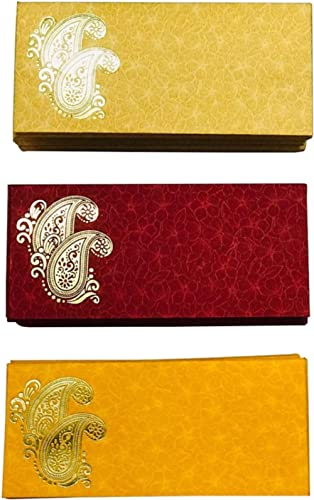 KRIWIN Pack of 75 Shagun Double Ambi Motif Rectangle Shape Sagan Gift Envelopes for Weddings, Birthdays, Baby Shower,...