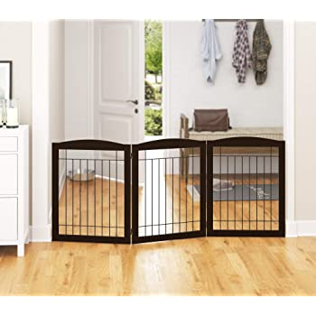 "PAWLAND Extra Wide Dog gate for The House, Doorway, Stairs, Freestanding Foldable Wire Pet Gate, Pet Puppy Safety Fence,30"" Height (Espresso, 3 Panels)"