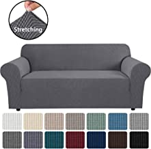 "H.VERSAILTEX Stretch Sofa Cover Couch Covers Sofa Covers for 3 Cushion Couch Sofa Protector Cover for Living Room, Small Checks Jacquard Soft Thick, Removable and Washable(Sofa 72""-96"": Grey)"