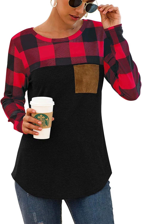 Womens Buffalo Plaid Neck Long Sleeve Patchwork Blouse Top Curve Hem Tunic