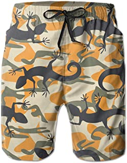 SARA NELL Mens Swim Trunks Colorful Beard Dragon Lizard Surfing Beach Board Shorts Swimwear