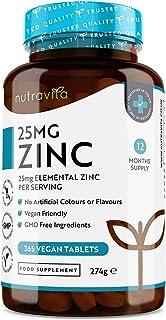 Comprimidos de zinc de 25 mg–365 comprimidos veganos (suministro para 1 año)-para el mantenimi...