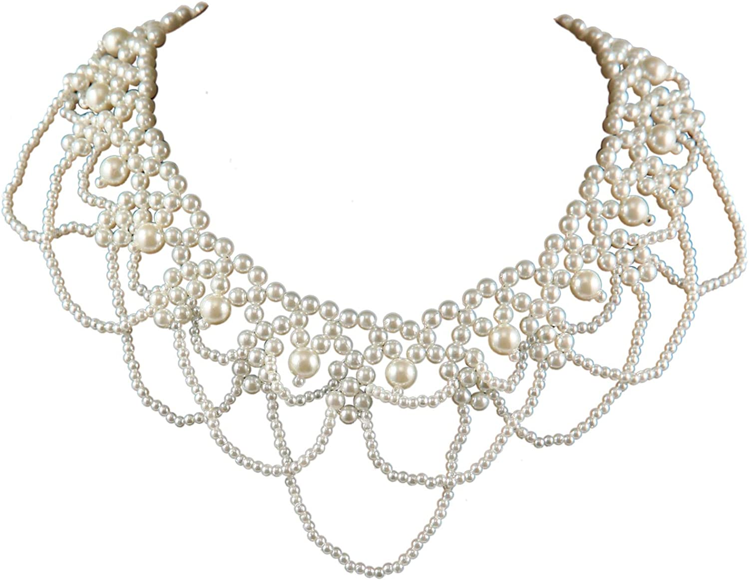 Pearl Beaded False Collar Detachable Decorative Gown Choker Necklace for Women Girl Jewelry Gifts Luxury Costume Cosplay Party Favors Neckwear