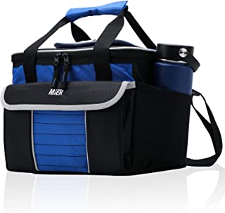 MIER Large Soft Cooler Bag Insulated Lunch Box Bag Picnic Cooler Tote with Dispensing Lid Multiple Pockets(black and blue)