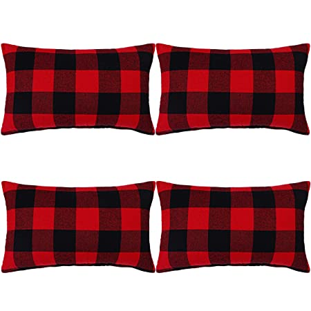 Amazon Com Aneco 4 Pack Buffalo Plaid Throw Pillow Covers Black And Red Plaid Cushion Covers Throw Pillow Cases 12 X 20 Inches Home Kitchen