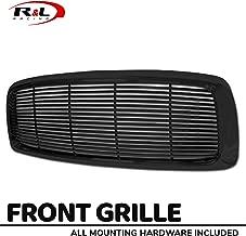R&L Racing Black Finished Front Grill Horizontal Billet Hood Bumper Grille Cover 2002-2005 For Dodge Ram 1500/2500 / 3500