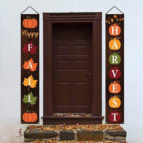 Mosoan Happy Fall Porch Sign Fall Decorations Outdoor Indoor Happy Fall Harvest Banner Sign Fall Autumn Thanksgiving Party Yard Front Door Hanging Decor