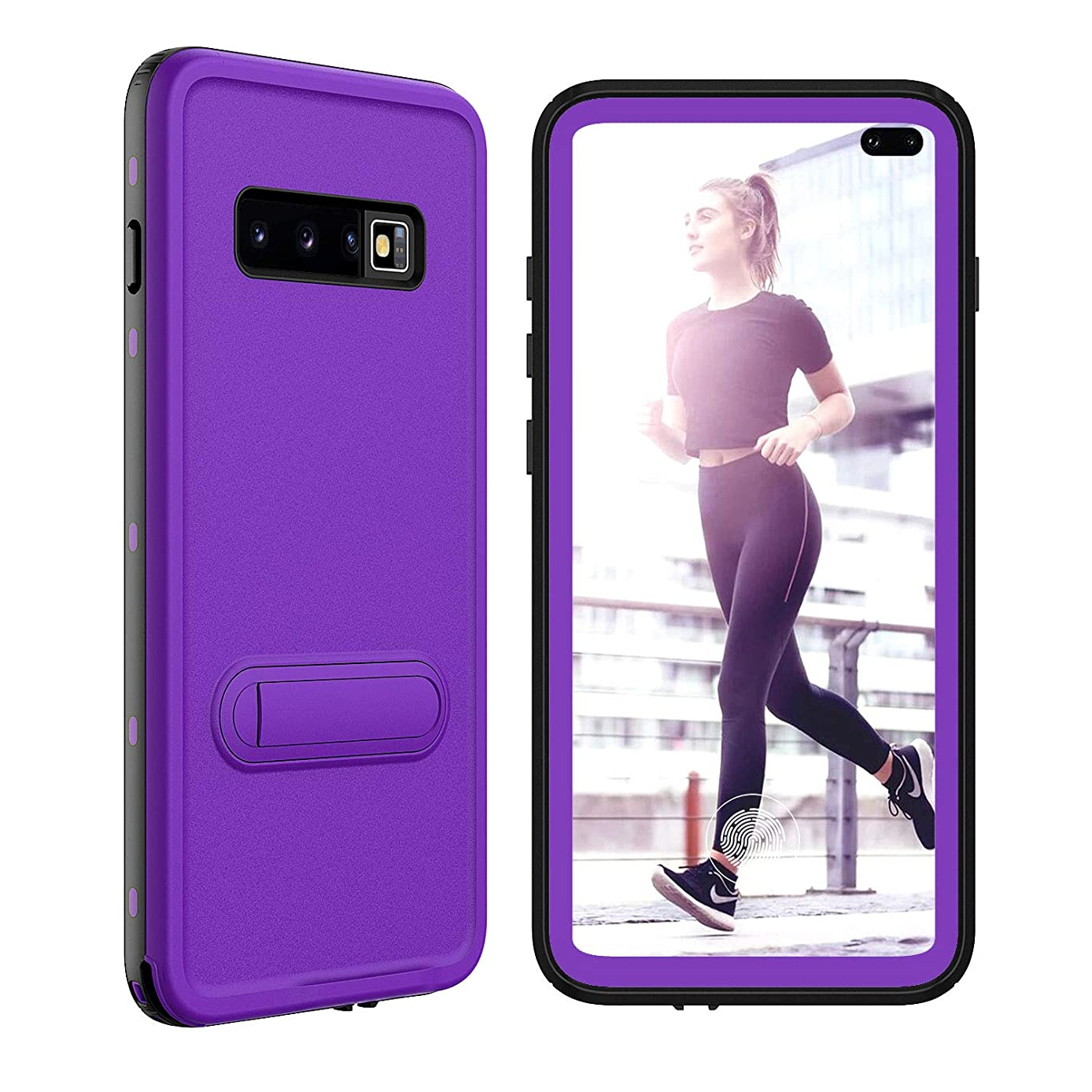 Protective Samsung Galaxy S10+ Plus Case with Built in Screen Protector, Underwater Full Body Protection Heavy Duty Rugged Case Waterproof Shockproof Case for Samsung Galaxy S10+ Plus Purple 6.4 inch