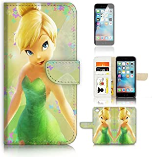 ( For iPhone 6 Plus / iPhone 6S Plus ) Flip Case Wallet Cover with Screen Protector - US B30023 - TinkerBell Fairy B30023