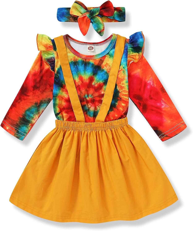 1-6T Toddler Kids Baby Girl Skirt Outfit Ruffles Sleeve Tie-dye Shirt+Overall Suspender Skirt with Headbands Fall Winter Set