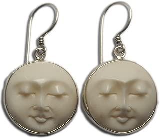 Moon Face Earrings Sterling Silver 925