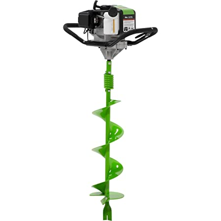 """TAZZ 35365 Earth Auger/Post Hole Digger with 43cc 2 Cycle Gas Engine, 8"""" Bit with Fishtail Point and Shock Absorbing Spring Welded Steel Handlebars, Alloy Gear and Ball-Bearing Transmission"""