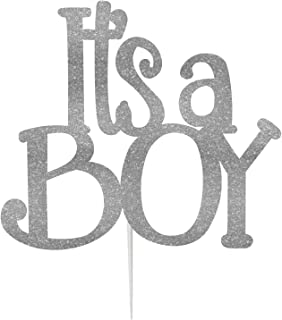 LissieLou It's a Boy Baby Shower Cake Topper Glitter Card Silver Made in UK