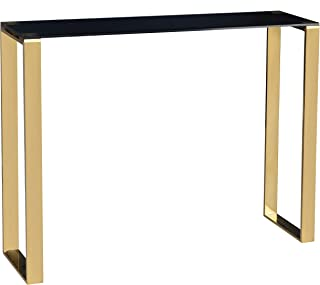 Cortesi Home Remini Narrow Contemporary Glass Console Table in Polished Gold Finish, Black Glass