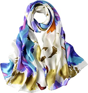 Long Charmeuse Silk Scarf Floral and Graphic Print