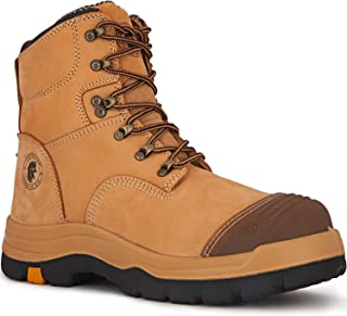 Work Boots for Men,7 inch Steel Toe Safety Leather Boots,...