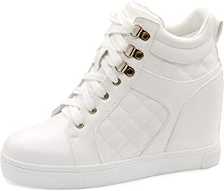Women's Hidden Wedge Sneakers Shoes Lace Up Fashion Wedge...
