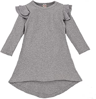 YOUNGER STAR Toddler Baby Girl Basic Plain Ruffle Long Sleeve Knitted Party Princess Dresses Tutu
