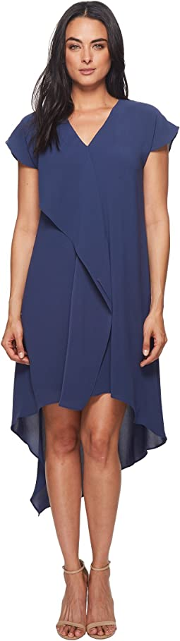 Adrianna Papell Gauzy Crepe V-Neck Ruffle Dress