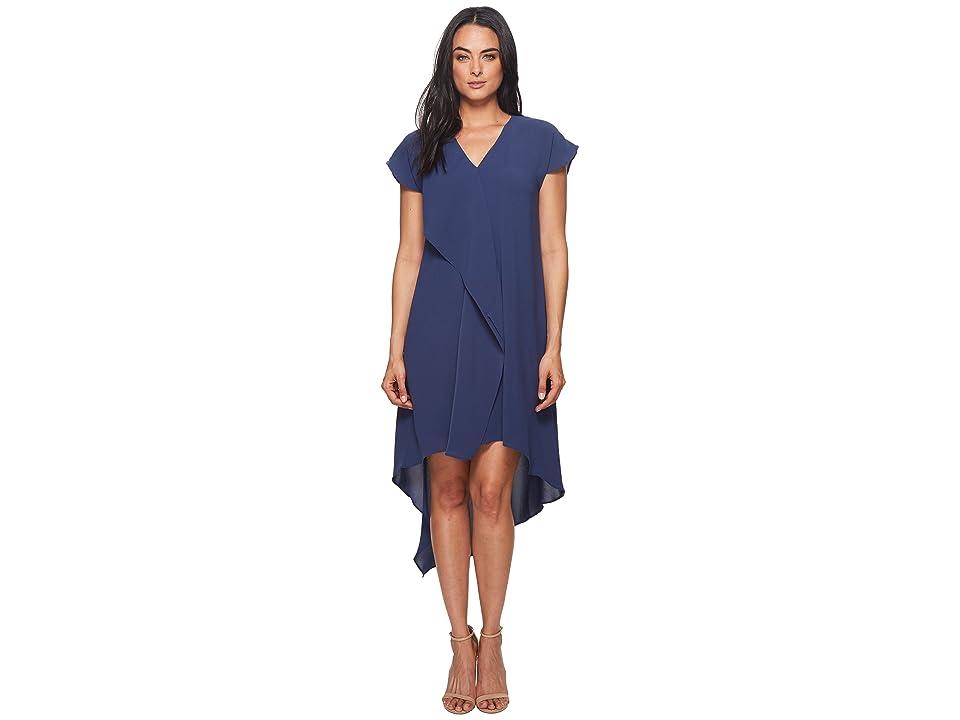 Adrianna Papell Gauzy Crepe V-Neck Ruffle Dress (Dusty Navy) Women