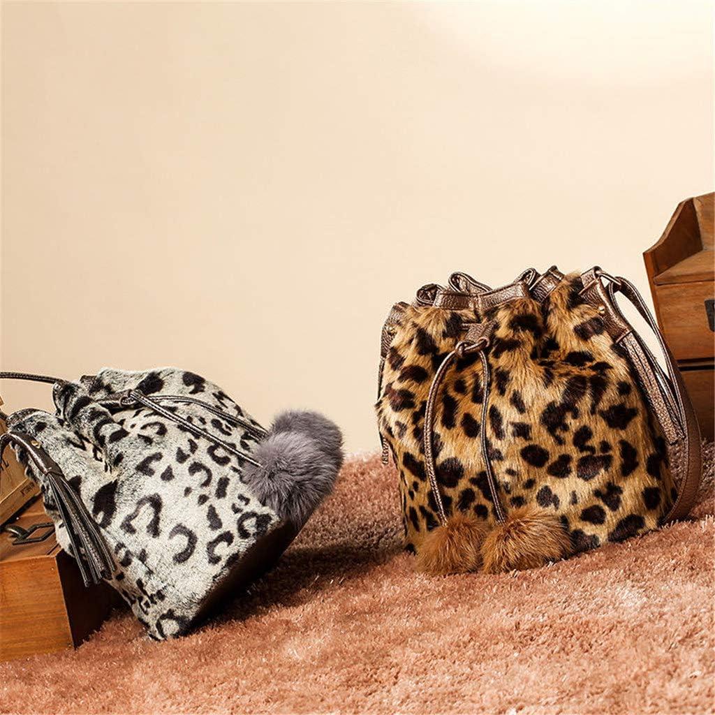 Women Drawstring Bucket Bag Purse Faux Fur Shoulder Bag with Adjustable Strap