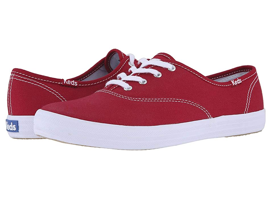 Retro Vintage Flats and Low Heel Shoes Keds Champion-Canvas CVO Ribbon Red Womens Lace up casual Shoes $45.00 AT vintagedancer.com
