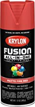 Krylon K02756007 Fusion All-In-One Spray Paint for Indoor/Outdoor Use, Matte Fire Red