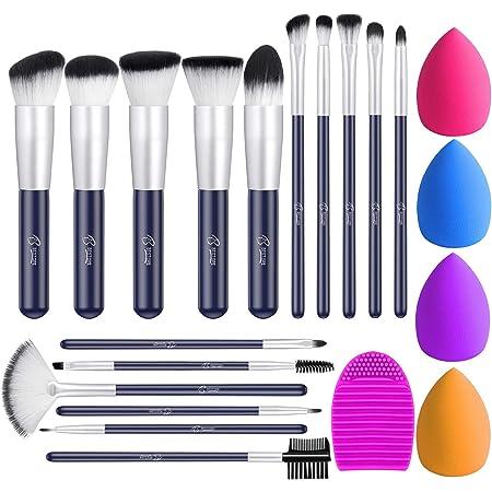 BESTOPE Makeup Brushes 16PCs Makeup Brushes Set with 4PCs Makeup Sponge and 1 Brush Cleaner Premium Synthetic Foundation Brushes Blending Face Powder Eye Shadows Make Up Brushes Tool(Navy blue)