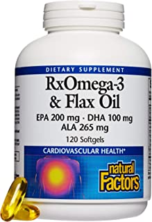 Natural Factors, RxOmega-3 & Flax Oil, Supports Cardiovascular Health with Omega-3 DHA and EPA, 120 softgels (60 servings)