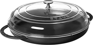 STAUB Cast Iron Round Steam Griddle, 12-inch, Matte Black