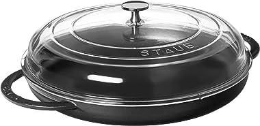 STAUB Cast Iron Round Steam Griddle, 12-inch, Matte Black