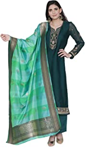 Women's Readymade Green Satin Indian/Pakistani Salwar Kameez with Banarasi Silk Dupatta 323