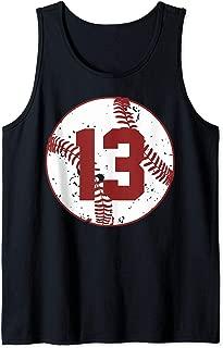Vintage Baseball Number 13 Shirt Cool Softball Mom Gift Tank Top
