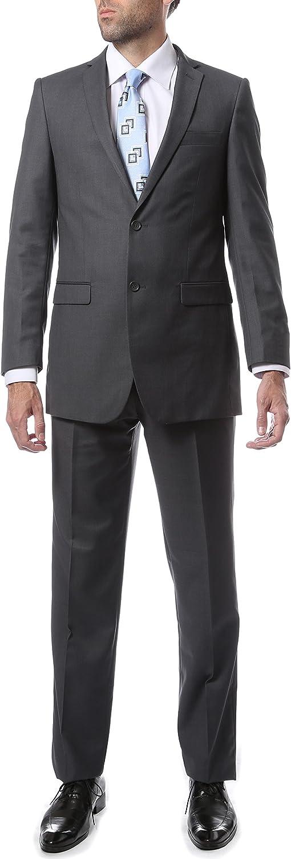 Ferrecci 34S Mens 2pc 2 Button Regular Fit Heather Grey Suit