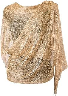 MissShorthair Womens Wedding Evening Wrap Shawl Glitter Metallic Prom Party Scarf with Fringe